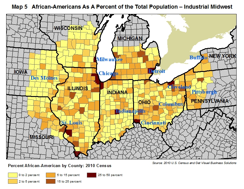 map of african-american population in the industrial midwest