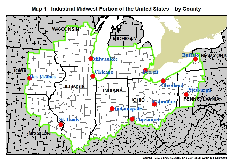 map of industrial midwest region, counties, major cities